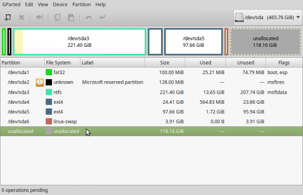 LMDE 2 GParted created partitions
