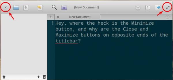 Elementary OS window titlebar