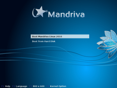 Mandriva One installation screen
