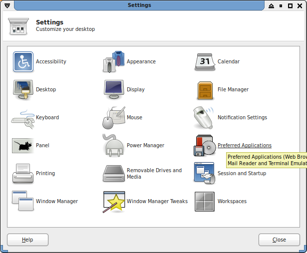 Xfce Settings Manager