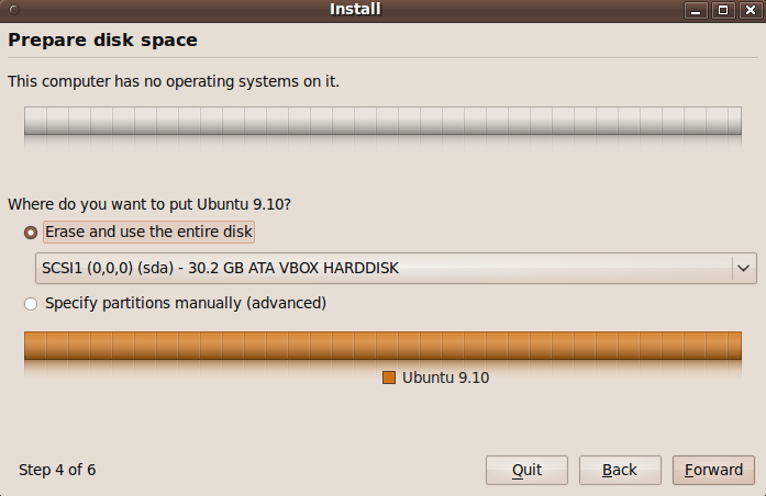 Ubuntu installer with the back button